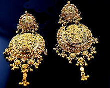 22k Jewelry Solid Gold LONG Hanging Earrings with Classic Design E1202 - Royal Dubai Jewellers
