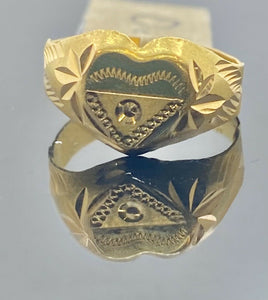 22k Ring Solid Gold Children Jewelry Classic Heart Design R1720z - Royal Dubai Jewellers