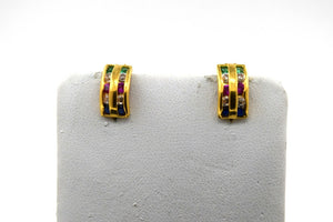 22k Earrings Solid Gold Ladies Jewelry Simple Mixed Color Stones Clip On E6275 - Royal Dubai Jewellers
