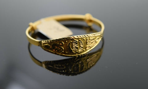 22k Solid Gold ELEGANT BABY CHILDREN BANGLE Classic Sikh Religious Design cb1394