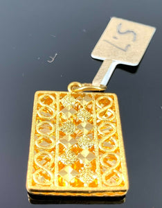 22k Pendant Solid Gold Elegant Simple Filigree Rectangular Shape Design P1071