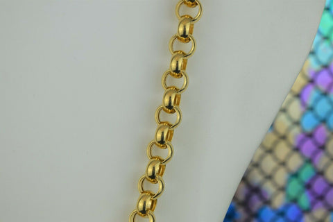 18k Chain Solid Gold Simple Elegant Long Rolo Link Design C027 - Royal Dubai Jewellers