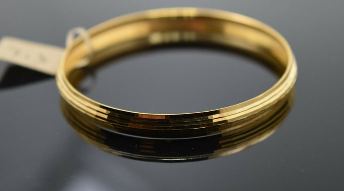 22k Solid Gold ELEGANT BABY CHILDREN BANGLE Simple Plain Kara cb1392