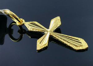 22k Pendant Solid Gold Simple Christian Cross High Polished Finished Design P925