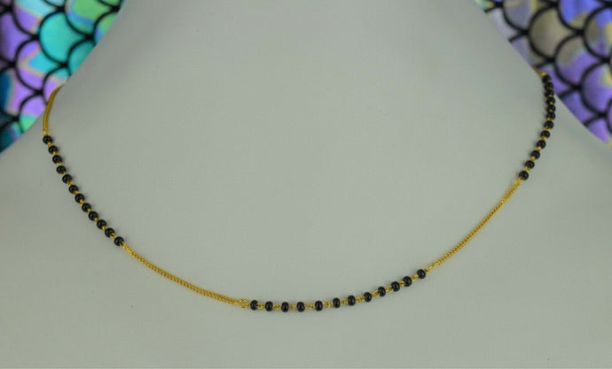 22k Mangalsutra Solid Gold Traditional Ladies Black Onyx Necklace Design C089