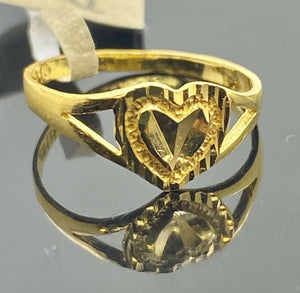 22k Ring Solid Gold Children Jewelry Simple Geometric Heart Design R2117z
