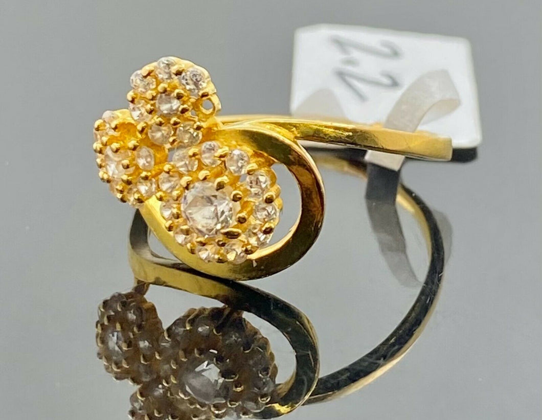 22k Ring Solid Gold Ladies Jewelry Simple Floral Stone Design R2125