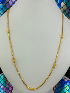 22k Chain Solid Gold Ladies Jewelry Simple Snake and Beads Design C0200 - Royal Dubai Jewellers