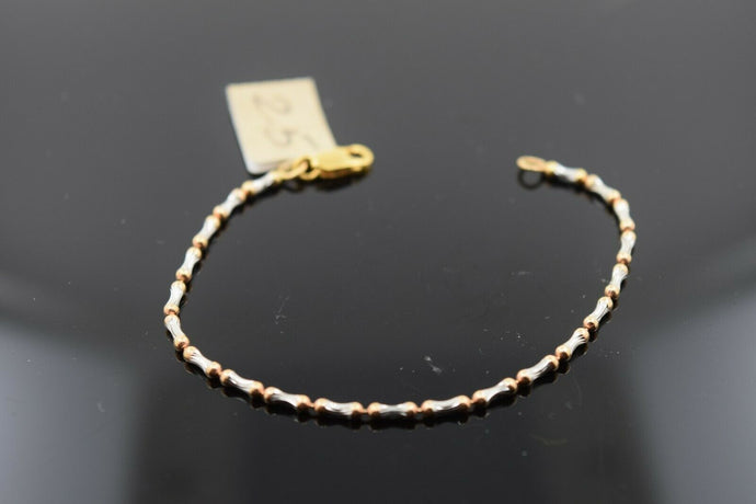 22k Solid Gold ELEGANT BABY CHILDREN BRACELET Two Tone Design br18