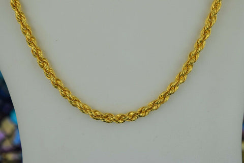 22k Chain Solid Gold Simple Elegant Long Rope Link Design C05 - Royal Dubai Jewellers