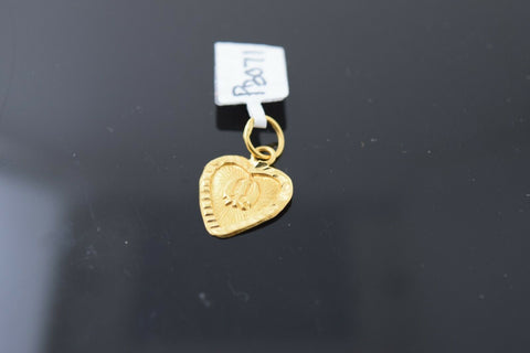 22k Solid Gold Charm Pendant Classic Sikh religious Heart Shape Design p3071