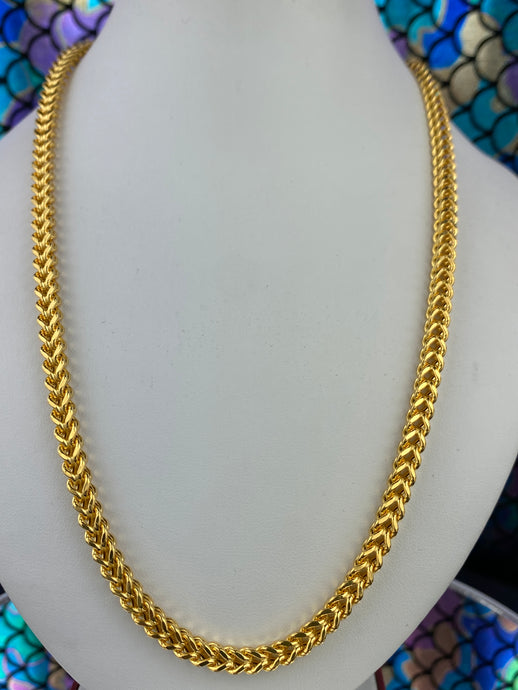 22k Chain Solid Gold Men Jewelry Simple Foxtail Pattern Design C02013 - Royal Dubai Jewellers