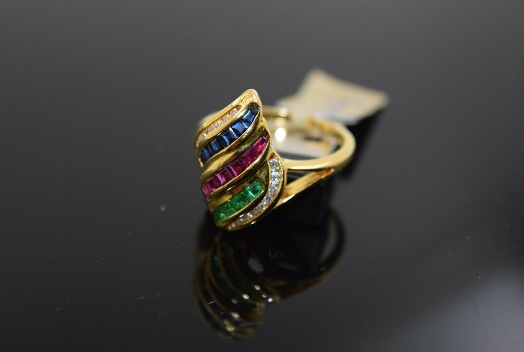 22k Ring Solid Gold Ring Ladies Jewelry Elegant Mixed Color Stones Design R3050