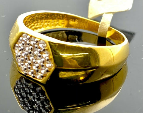22k Ring Solid Gold Men Jewelry Classic Hexogen Design R2153 - Royal Dubai Jewellers