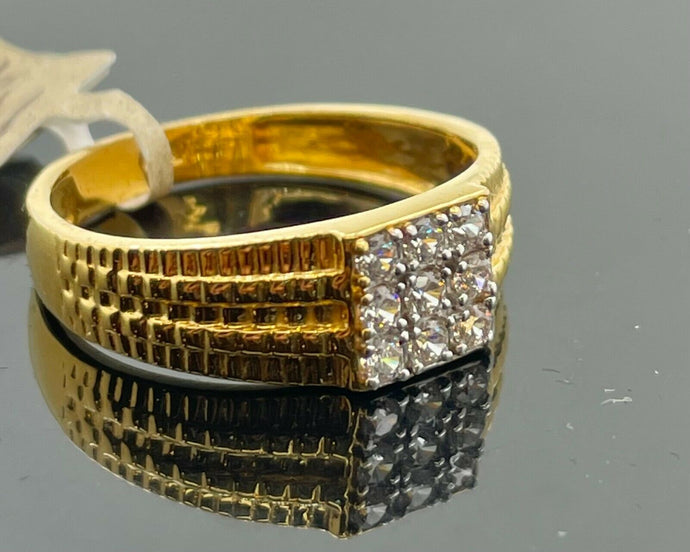 22k Ring Solid Gold Men Jewelry Simple Square Signet Design with Stones R2168