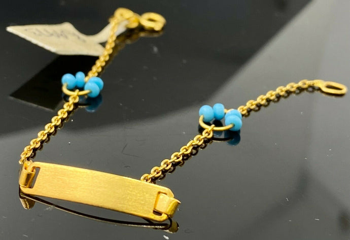 22k Bracelet Solid Gold Children Jewelry Simple Plate With Stones Design B9973