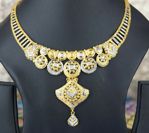 22k Necklace Set Beautiful Solid Gold Ladies Modern Two Tone Design LS998