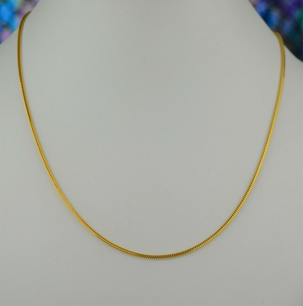 22k Chain Solid Gold Simple Elegant Square V shape Link Design C069 - Royal Dubai Jewellers