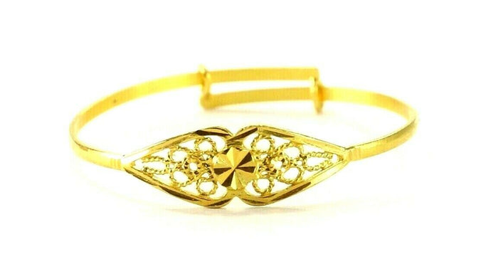 22k Bangle Solid Gold Simple Children Plain Filigree Adjustable Bangle cb1325
