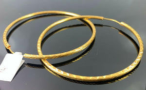 22k Earring Solid Gold Ladies Elegant Large Hoops Pattern Cutting Design E886