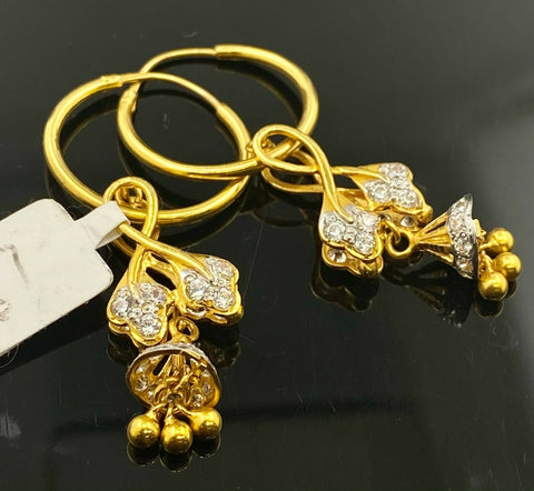 22k Earrings Solid Gold Ladies Jewelry Simple Hoops with Floral Charms E5186