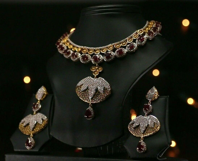 22k Beautiful Charm Solid Gold Classic Ruby Necklace Set For Ladies #LS168
