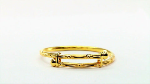 22k Children Bangle Solid Gold Simple Charm Diamond Cut Design cb1222