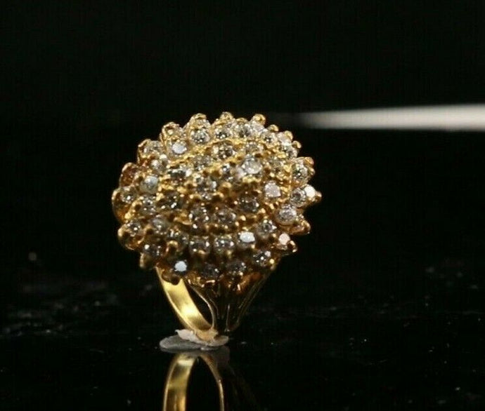 22k Ring Solid Gold ELEGANT Charm Ladies Clustered SIZE 5-3/4