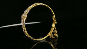 22k Bangle Solid Gold Simple Children Two Tone Floral Bangle cb1303