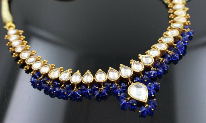 22k 22ct Solid Gold Elegant Traditional Kundan Set Necklace with STONE KS101 | Royal Dubai Jewellers