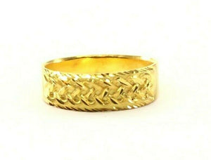 "22k Ring Solid Gold ELEGANT Charm Ladies Cross Band  SIZE 7.5 ""RESIZABLE"" r2309"
