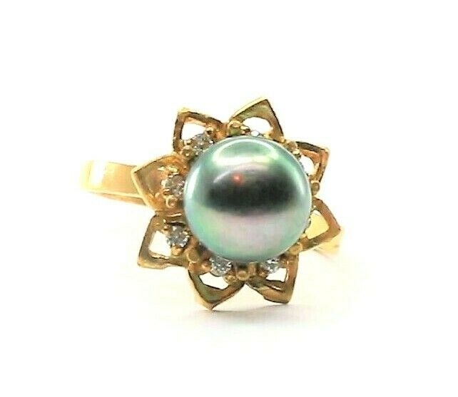 22k Ring Solid Gold ELEGANT Charm Teal Star Band  SIZE 7