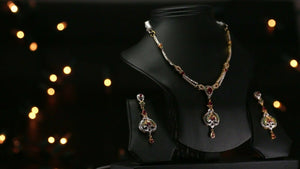 22k Beautiful Solid Gold Classic Multi Color Stone Necklace Set For Ladies LS169
