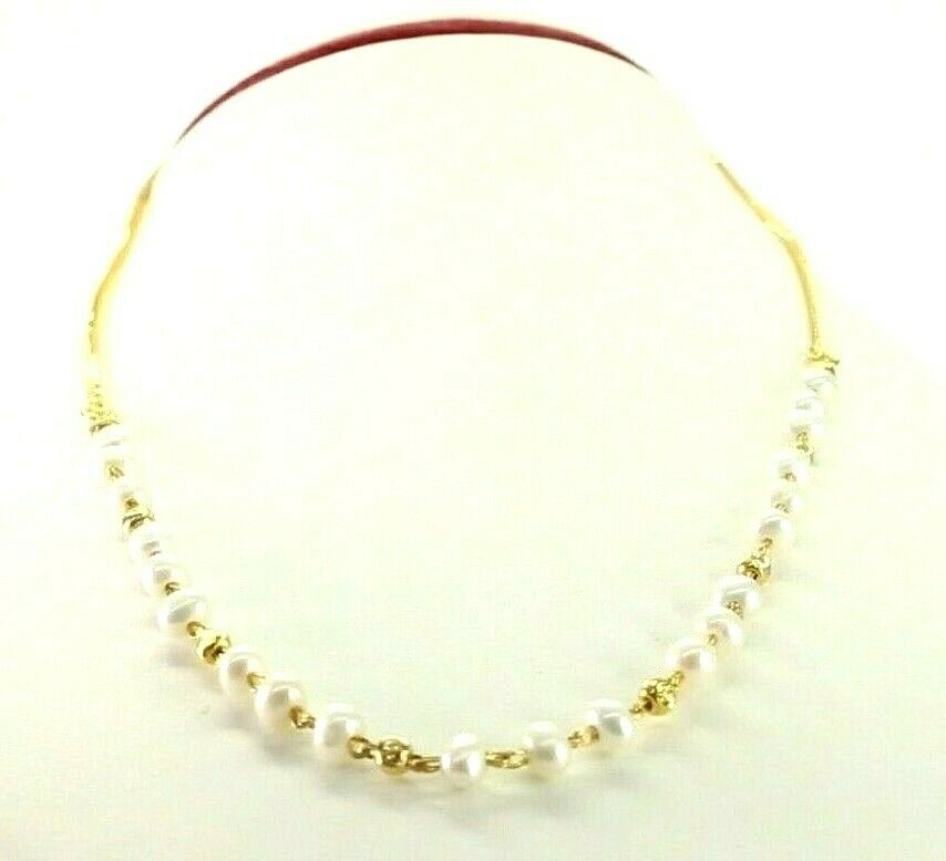 22k Chain Yellow Solid Gold Chain Necklace Pearl Design Charm Length 16