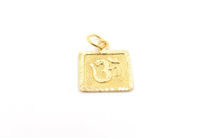 22k 22ct Solid Gold Hindu RELIGIOUS OM Pendant Charm Locket Diamond Cut p1013 ns | Royal Dubai Jewellers