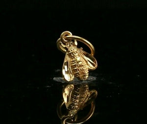 22k Pendant Solid Gold ELEGANT Simple Diamond Cut Beetle Pendant P2199z mon