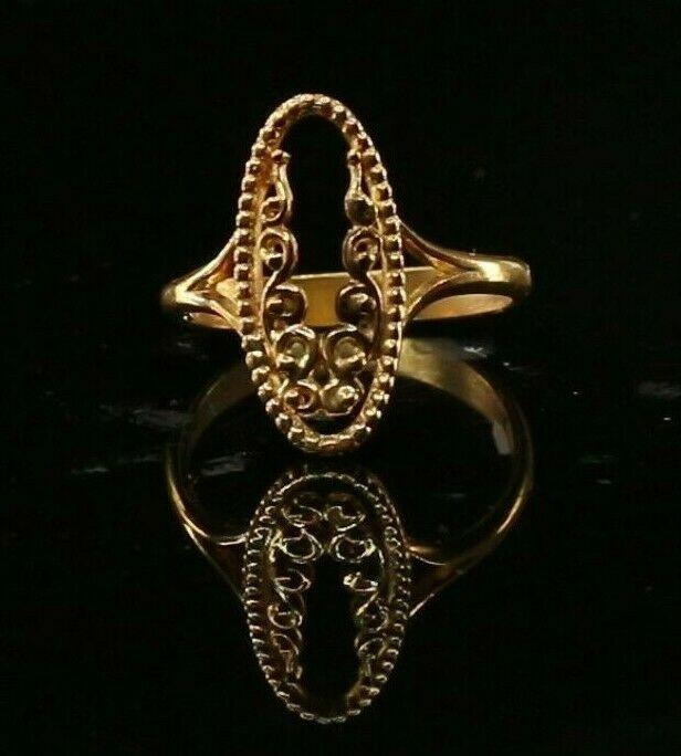 22ct 22k Solid Gold Elegant Charm Floral Ladies Ring Size R2032mon | Royal Dubai Jewellers
