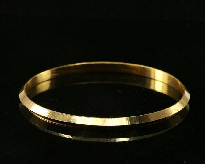22k Bangle Solid Gold Simple Plain Glossy Mens Kara Design Size 2.25 inch B1136 | Royal Dubai Jewellers