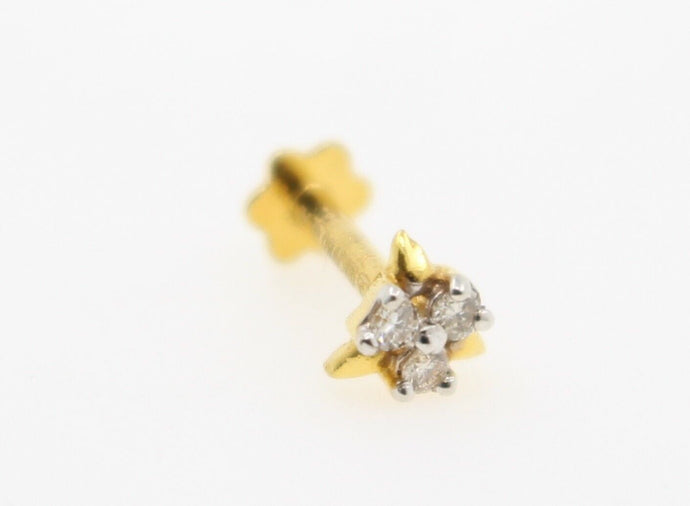 Authentic 18K Yellow Gold Charm Nose Pin Stud Diamond VS2 n310 | Forever22karat