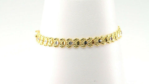 22k Bracelet Solid Gold Simple Charm Modern Two Tone Design LENGTH 6.7 inch B947 | Royal Dubai Jewellers