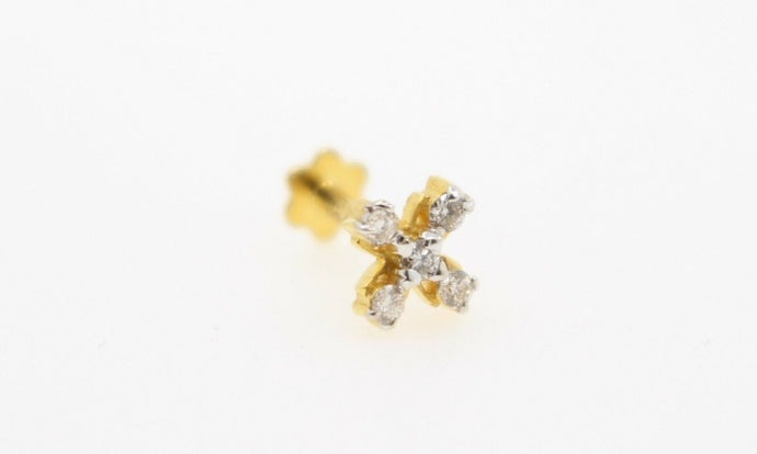 Authentic 18K Yellow Gold Charm Nose Pin Stud Diamond VS2 n315 | Forever22karat
