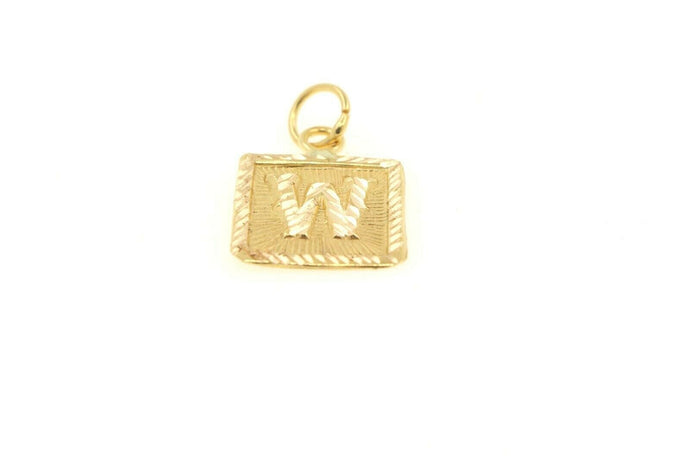 22k 22ct Solid Gold Charm Letter W Pendant Square Design p1125 ns | Royal Dubai Jewellers