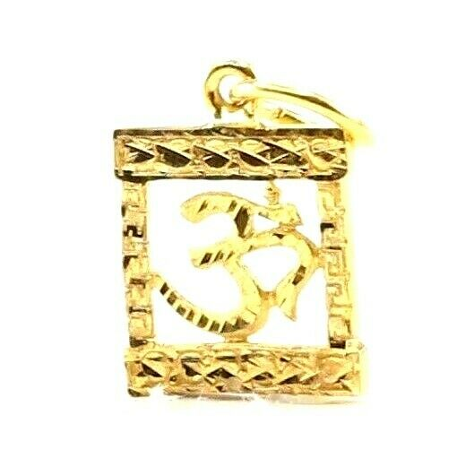 22k 22ct Solid Gold ELEGANT Simple Diamond Cut Religious OM Pendant P1507