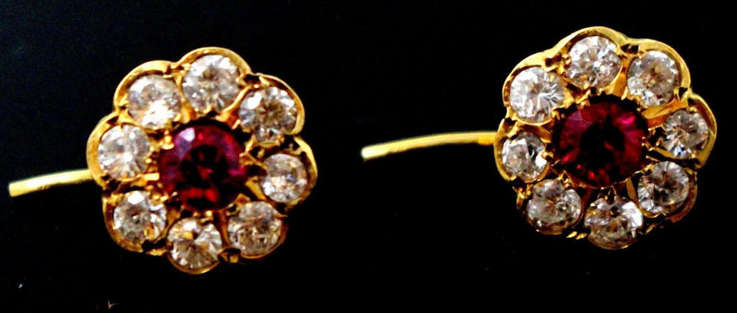 22k 22ct Solid YELLOW GOLD ELEGANT ZIRCONIA RUBY FLOWER SHAPED EARRINGS E5851 | Royal Dubai Jewellers