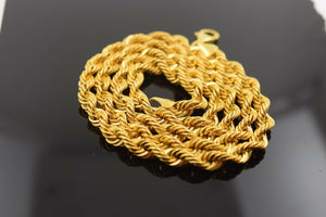 22k Yellow Solid Gold Chain Rope Necklace 4mm Modern Design mf | Royal Dubai Jewellers