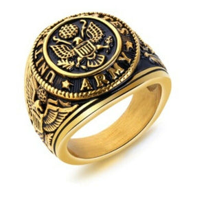 Solid Gold Men Ring Military Army Insignia SM43 - Royal Dubai Jewellers