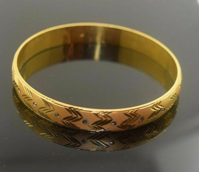 22k Solid Gold ELEGANT WOMEN BANGLE BRACELET MODERN DESIGN Size 2.5 inch B311 | Royal Dubai Jwellers
