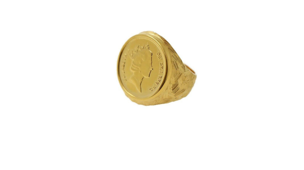 22k Solid Gold ELEGANT Charm Men Ring Queen Coin SIZE 11.5