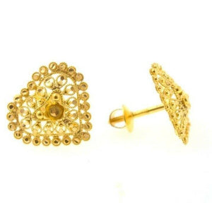 22k 22ct Solid Gold Elegant Ladies Classic Heart Shape Stud EARRINGS  E5916 | Royal Dubai Jewellers