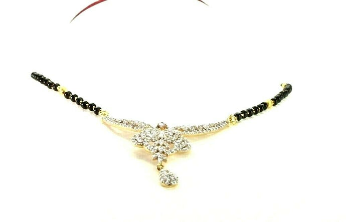 22k Chain Yellow Solid Gold Chain Necklace Mangulsutra Design Length 18inch c864